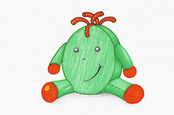 Eine farbige Zeichnung unserer Tagespflege Figur TiQ!